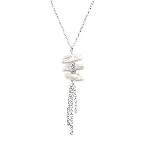 - Silpada 'Organic Trio' Baroque Cultured Pearl Tassel Pendant Necklace in Sterling Silver