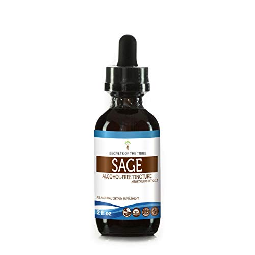 Sage Alcohol-Free Liquid Extract, Organic Sage (Salvia officinalis) Dried Leaf Tincture Supplement (2 FL OZ)
