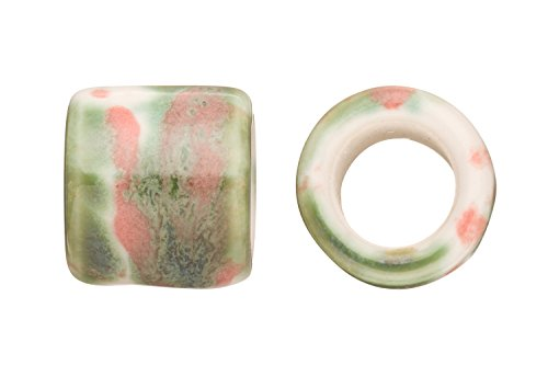 Tube Licorice Ceramic Bead Fits 10x8mm Licorice Leather Green Watercolor Glazed Finished
