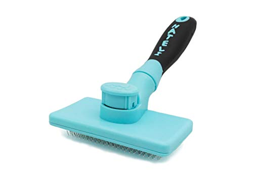 - Heydou Pet Self Cleaning Soft Pin Brush Dog&Cat Hair Grooming Automatic Deshedding Tool for Shedding Long and Short Fur