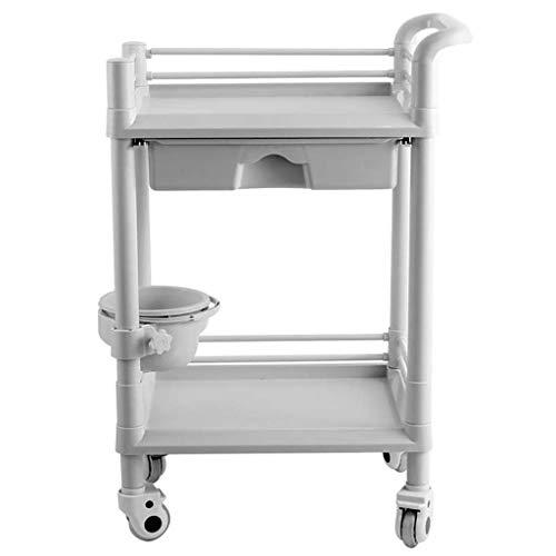 2-layer Beauty Salon Cart, Maintenance Cart ABS Plastic Medical Assembly Vehicle, Multi-purpose Hospital Ambulance