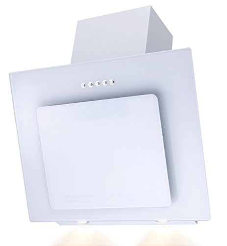 SH60-WH Glas weiß Dunstabzugshaube Randabsaugung 60cm Schräghaube [Energieklasse B] Kontor-Hermsen
