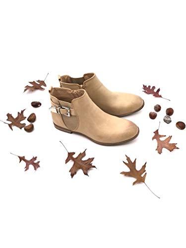 Boots Cm Élastique Femme 2 Boucle Chaussure Chelsea Motard Bottine Beige Angkorly Bloc Mode Talon qxCwZ7CgI