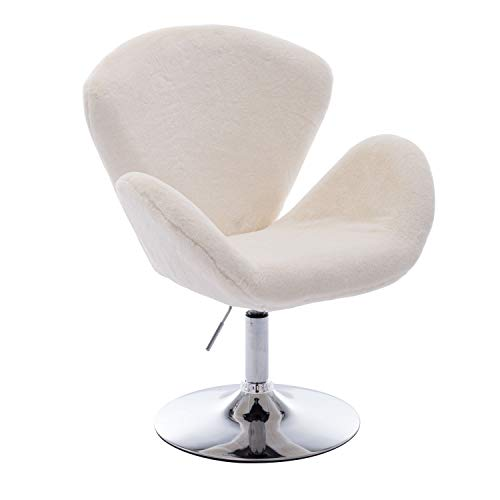 ZHENGHAO Soft Fuzzy Swivel Makeup Stool, Modern White Swan Chair Faux Rabbit Fur Accent Chair for Living Room/Bedroom/Dressing Room (Ivory White) - 3