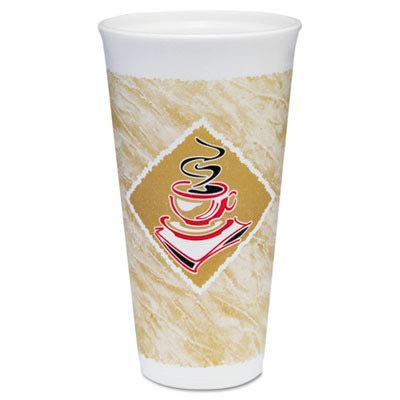 Dart 20X16G Foam Hot/Cold Cups, 20 oz., Café G Design, White/Brown with Red Accents