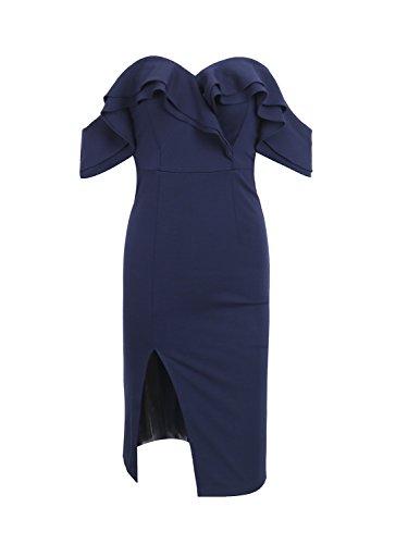 Apparel Navy Simplee Shoulder Ruffle Women's Dress Midi Off blue R7dxadz