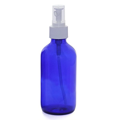 2 Blue Glass Mist Spray Bottles. Medium 8 oz Misting Bottle. Food safe. Fine Mist for Spraying Plants, Cleaning Vinegar, Essential Oils Mister. Empty Refillable sprayer for Kitchen Home Hair Ironing. by Sanctuary Organics (Image #1)