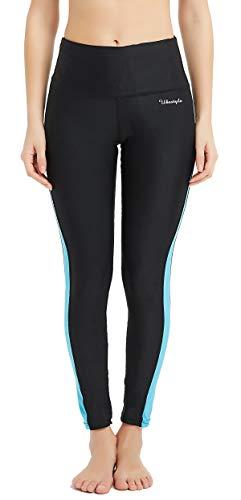 (Ubestyle UPF 50+ High Waist Women's Surfing Leggings Swim Tights Sun Protective (Black/Blue, XL))