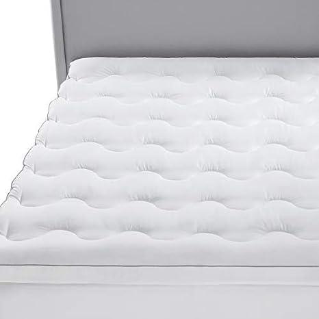 Bedsure Topper Colchón 90x200x3cm - Funda Colchón Cama 90 Acolchado de Espuma de 7-Zonas, Protector Colchón Hipoalergénico Suave Transpirable de Microfibra