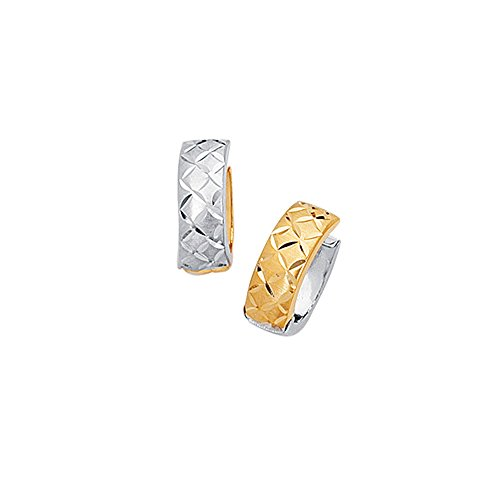 - 14K Yellow & White Gold Diamond Cut Shiny 5mm Two Tone Snuggable Earrings Diamonds Pattern by IcedTime