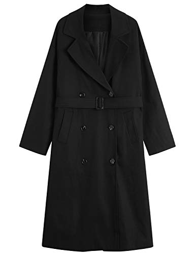 Women's Double-Breasted Trench Coat with Belt,Classic Premium Mid-Length Coats,Black,XL -