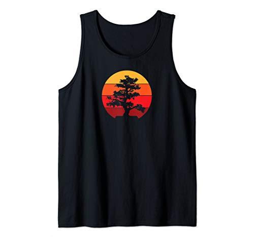 Pacific Ocean Beach Bonsai Tree Sun Retro Vintage Design Tank Top ()