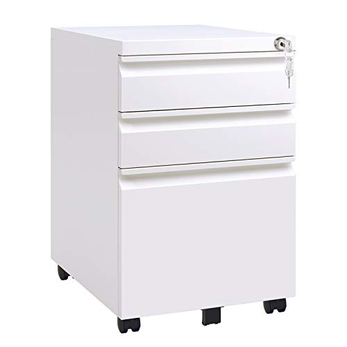 DEVAISE 3 Drawer Mobile File Cabinet with Lock, Metal Filing Cabinet Legal/Letter Size, Fully Assembled Except Wheels, White ()