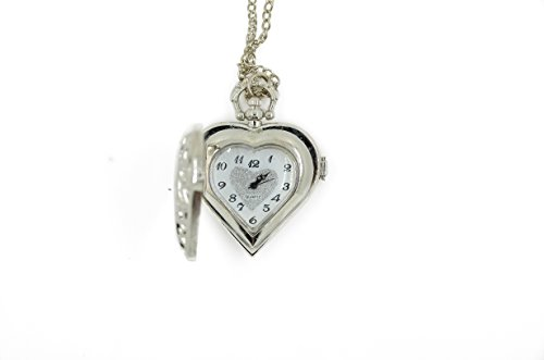 CAETLE Steampunk Love Heart Hollow Surface Pocket Watch Pendant Vintage Style Heart With Filigree