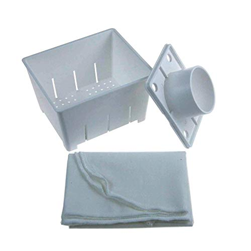 """Handy Pantry Plastic Tofu Mold/Press with Cheesecloth - 5""""x4""""x3"""" - Makes Over 2 Lbs of Tofu Per Batch - Dishwasher Safe - Reusable"""