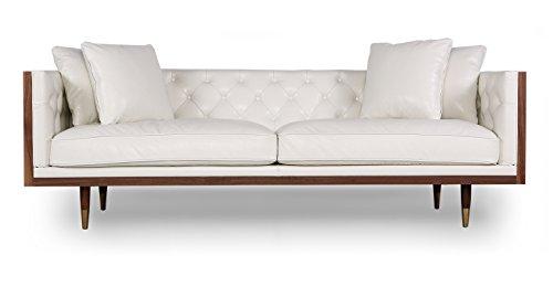 Kardiel Woodrow Neo Classic Midcentury Modern Sofa, Walnut/White Aniline Leather