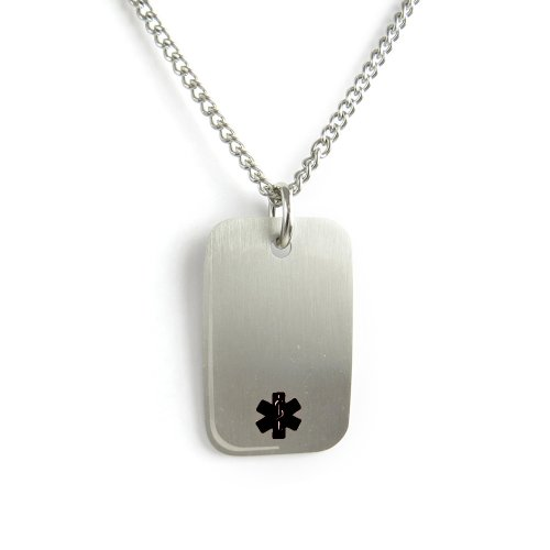 (My Identity Doctor - Pre-Engraved & Customized Peanut Allergy Medical Alert Dog Tag Necklace, Stainless Steel)