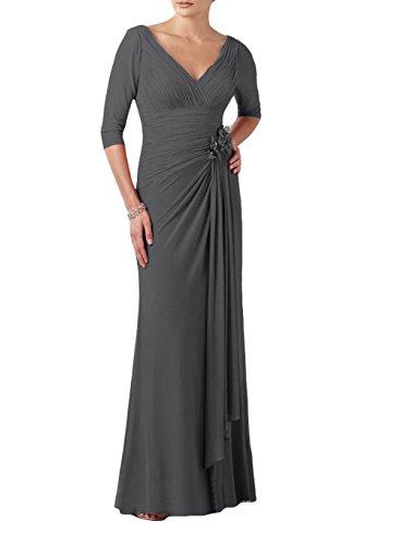 Kleider Jugendweihe Lang Abschlussballkleider La Ausschnitt V Promkleider Elegant Grau Partykleider Abendkleider Brau mia B0n0qO8