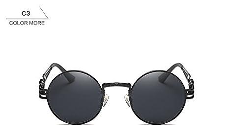 e56dabef8c2f1 Amazon.com : 365Cor(TM) Classic Gothic Round Steampunk Sunglasses ...