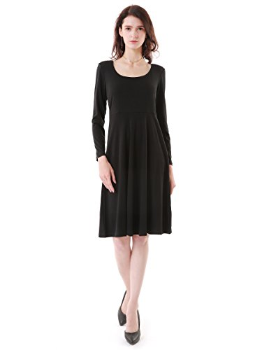 pour Patineuse Summer Vintage Longue Noir Robe Uni Mi Mae Evase Longue Femme Manche ZZwvUq