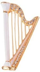 [해외]나카노에 나 멜 브 로치 하프 화이트 JE-38W / Nakano Enamel Brooch Harp White JE-38W