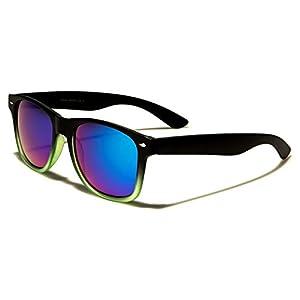 Mirozi Men's Wayferer 52MM Mirrored Lens Sunglasses (Black/Green, Purple/Blue Mirrored)