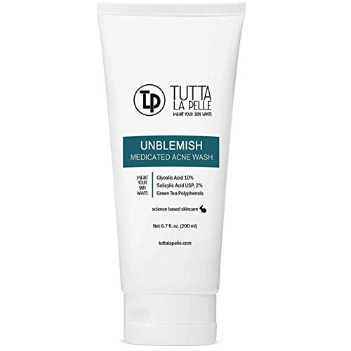 Exfoliating Face Wash Glycolic Acid 10% Salicylic Acid 2% - Medicated Unblemish Cleanser AHA BHA Acne Wash, with calming green tea, oil free, Helps for Acne, Oiliness, Blackheads, Cystic Acne 6.7 oz