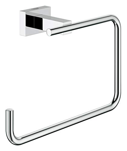 GROHE 40510001 Essentials Cube 8 In. Towel Ring, Starlight Chrome