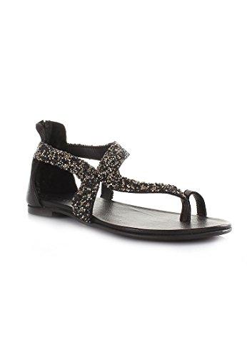 Inuovo Onda de Diamantes de Imitación con Cremallera Mujer 6025 Sandalias de Tiras Negro Nero
