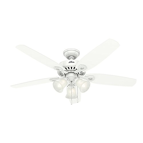 Hunter Indoor Ceiling Fan, with pull chain control – Builder Plus 52 inch, White, 53236