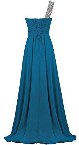 Fourmis Mousseline De Cristal Femmes Une Robe Longue Soirée Robe De Bal Épaule De Bleu Turquoise