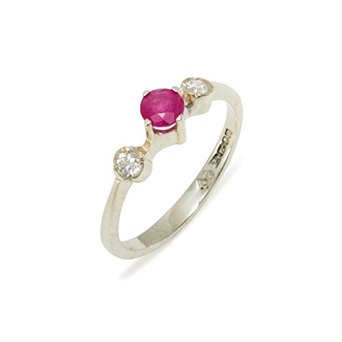 925 Sterling Silver Natural Ruby & Diamond Womens Trilogy Ring (0.11 cttw, H-I Color, I2-I3 Clarity) by LetsBuySilver