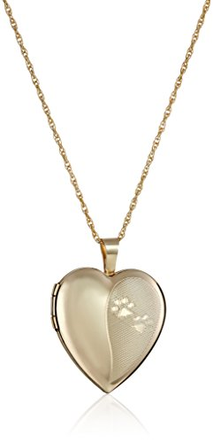 14k Gold-Filled Heart-Shaped Dog Paw Locket Necklace, 18