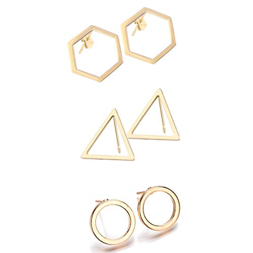 3 Pairs Geometric Hexagon Triangle Stud Earrings Minimalism Small Round Circle Ear Studs Earing for Women Jewelry Gift-Gold ()
