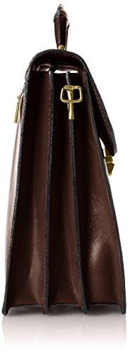 Veranstalter Herrentasche, Box Elegant, Aktentasche, echtes Leder 100% Made in Italy Braun (Marrone Scuro)
