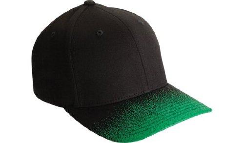 c2fa32cf871 Flexfit Plain Classic Fitted Flexifit Faded Baseball Hat Cap Black   Green  Large - X-
