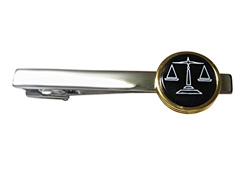 Gold and Black Toned Scale of Justice Square Tie Clip -