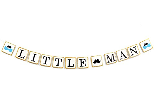 OneParty Little Man Banner with Mustache and Bow Tie, Boy Baby Shower Banner. Boy 1st Birthday Banner. -