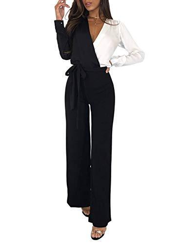 Asyoly Women Casual Blouson Long Sleeve Wrap Front V Neck Tie Waist Wide Legs Long Pants Jumpsuits Rompers Black