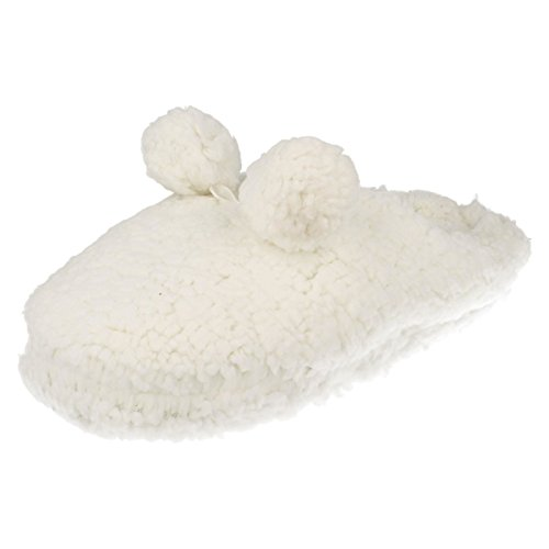 Slippers Fluffy Front Eaze Pom Ladies X2047 Pom White SXgAOqxH