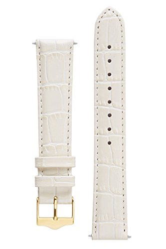 18 Mm Cream (Signature Tropico in cream 18 mm short watch band. Replacement watch strap. Genuine leather. Gold Buckle)