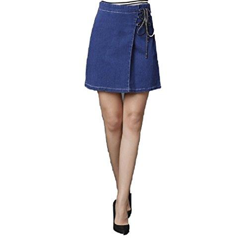 Oudan Jupe en Jean Mini Jupe Courte Taille Haute A-Ligne avec Lacet dt Grande Taille Dcontract Bleu Fonc
