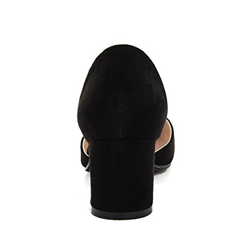 AalarDom Womens Imitated Suede Frosted Solid Pull-On Pointed-Toe Kitten-Heels Pumps-Shoes Black NgqJZjViK