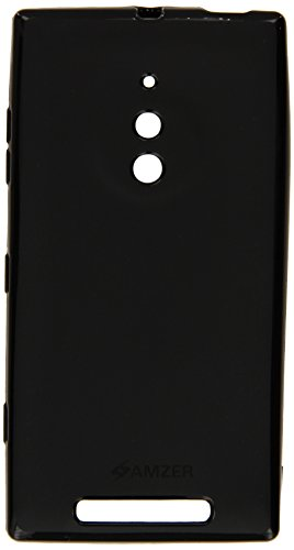 Amzer Pudding Soft Gel TPU Skin Fit Case Cover for Nokia Lumia 830 - Retail Packaging - Black (Phone Cover For Nokia Lumia 830)