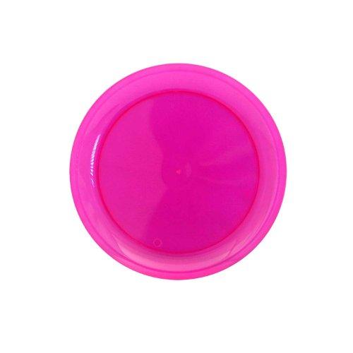 Party Essentials Hard Plastic 6-Inch Round Party/Dessert Plates, Neon Pink, -