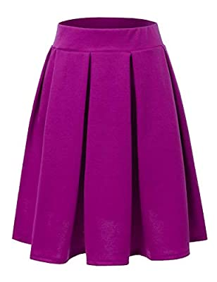 Doublju Elastic Waist Flare Pleated Skater Midi Skirt for Women with Plus Size