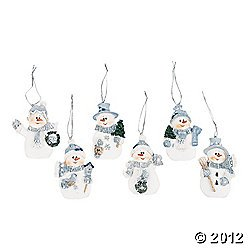 Resin Blue Snowman Christmas Ornaments (Pack of (Blue Snowman Ornament)