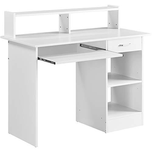 Yaheetech Mesa Escritorio Blanco con Soporte de Monitor para Oficina Despacho Mesa de Ordenador de Madera Mesa de Estudio con Cajón Estantes 106 x 50 x 75 cm a buen precio