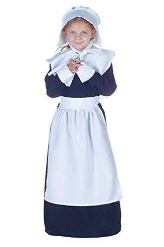 Girls Pilgrim Kids Child Fancy Dress Party Halloween Costume, S (4-6) (Pilgrim Costume Toddler)