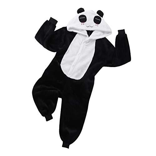 (YiZYiF Ages 2-12 Boys' Girls' Flannel Panda Hooded Warm Pajamas Sleepwear One Piece Animal Jumpsuit Costume Black&White)